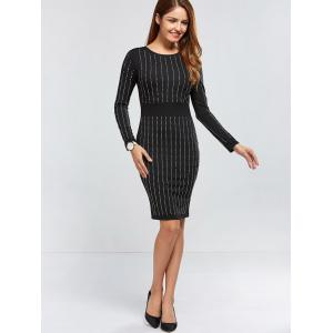 Rhinestoned Long Sleeve Dress - BLACK XL