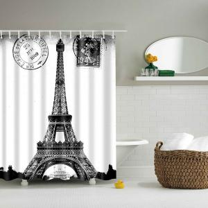 Paris Tower Polyester Waterproof Bath Decor Shower Curtain - White And Black - L