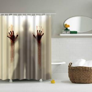 Scary Shadow Polyester Waterproof Bath Decor Shower Curtain - Beige - S