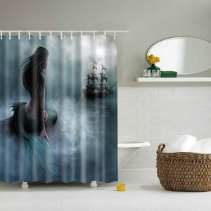 Mermaid Pattern Mouldproof Waterproof Shower Curtain - Blackish Green - M
