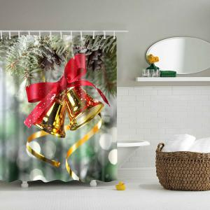 Bell Polyester Waterproof Bath Decor Christmas Shower Curtain - Colormix - L