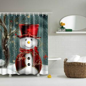 Christmas Snowman Mouldproof Waterproof Bathroom Shower Curtain