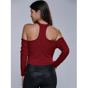Lace-Up Cold Shoulder Long Sleeve Bodysuit - WINE RED XL