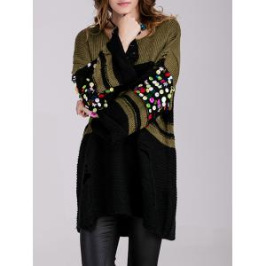 Long Color Block Embellished Sweater