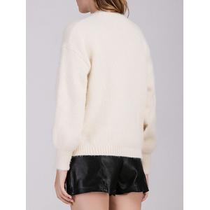 Buttoned Knitted Casual Cardigan - OFF-WHITE ONE SIZE