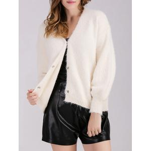 Buttoned Knitted Casual Cardigan - OFF WHITE ONE SIZE
