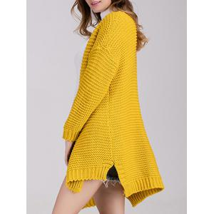 Chunky Knit Open Front Cardigan - YELLOW ONE SIZE
