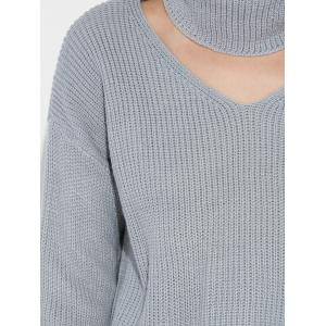 Pullover Choker V Neck Ribbed Sweater -