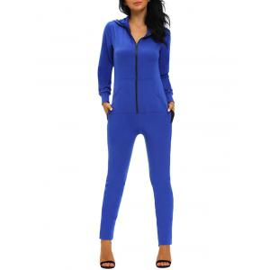 Hooded Zipper Jumpsuit - Blue - M