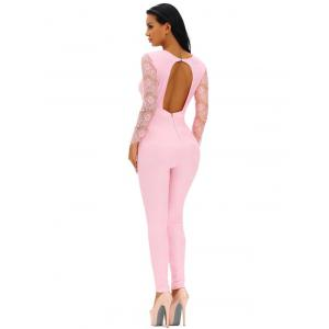 Plunging Neckline Lace Spliced Tight Jumpsuit -