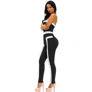 Tight Color Block Strapless Jumpsuit - BLACK L