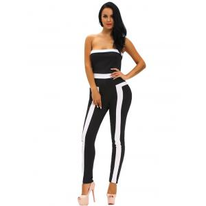 Tight Color Block Strapless Jumpsuit -