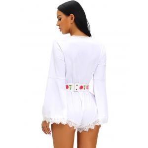 Plunging Neckline Flare Sleeve Floral Print Romper - WHITE L