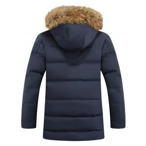 Zipper Pocket Quilted Coat with Fur Trim Hood -