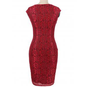 Invisible Zipper Flower Pattern Lace Bodycon Dress - RED M