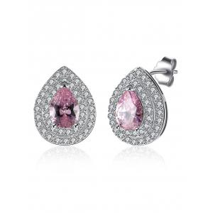 S925 Diamond Teardrop Stud Earrings
