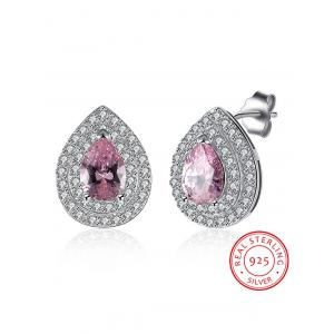 S925 Diamond Teardrop Stud Earrings -
