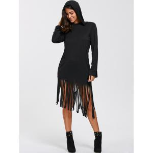 Casual Long Sleeve Hooded T-Shirt Fringed Dress