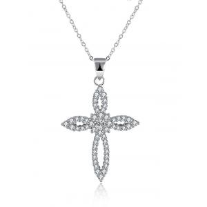 Flower Crucifix S925 Diamond Pendant Necklace - Silver
