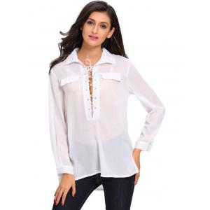 Long Sleeve Lace Up High Low Shirt - WHITE L