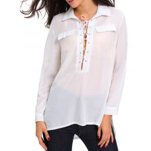 Long Sleeve Lace Up High Low Shirt