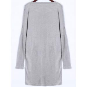 V Neck Longline Sweater - GRAY XL