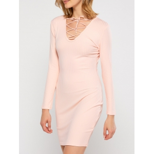 Plunging Neck Lace Up Bodycon Club Dress - PINK XL