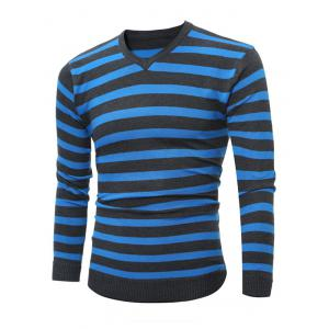Flat Kintted V Neck Striped Sweater