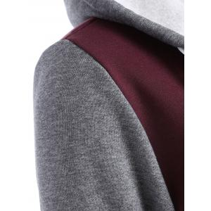 Contrast Sleeve Fleece Baseball Hoodie Jacket -