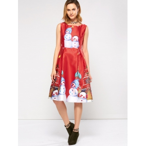 Sleeveless Snowman Christmas Skater Party Dress - RED XL