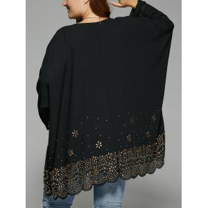 Plus Size V Neck Rhinestone Long Blouse -