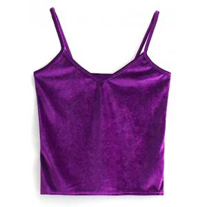 Velvet Cami Cropped Tank Top - Purple - One Size