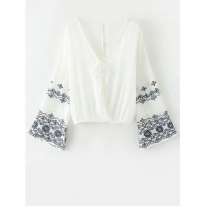 Flare Sleeve Embroidered Vintage Blouse