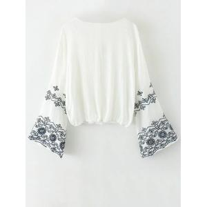 Flare Sleeve Embroidered Vintage Blouse - WHITE L