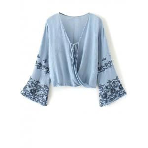 Flare Sleeve Embroidered Vintage Blouse - Blue - S