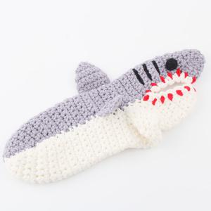 Cartoon Knitted Shark Slipper Socks - LIGHT GRAY