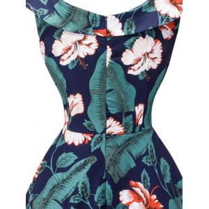 Retro Style Full Flower Print Dress -