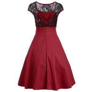 Floral Lace Panel Swing Dress -