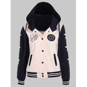 Two Tone Hooded Patched Casual Jacket -