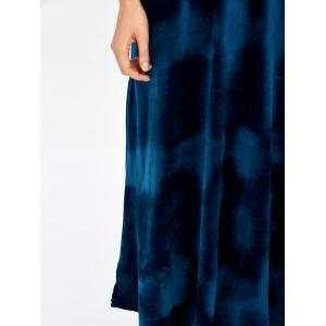 Backless Round Neck Velvet Party Tea Length Dress - DEEP BLUE ONE SIZE