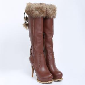 High Heel Scalloped Pompon Mid Calf Boots - BROWN 39