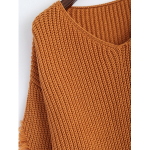 Pullover Ripped V Neck Sweater - EARTHY 2XL