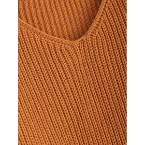Pullover Ripped V Neck Sweater - EARTHY M