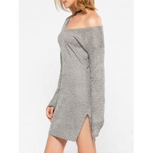Long Sleeve Slit Causal Jersey Knit Dress - GRAY XL