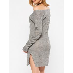 Long Sleeve Slit Causal Jersey Sheath Dress -