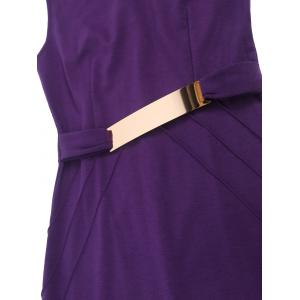 Metal Ruffled Cut Out Bodycon Sleeveless Dress - PURPLE 2XL