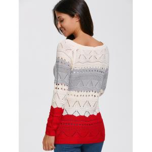 Color Block Hollow Out Sweater - PALOMINO M