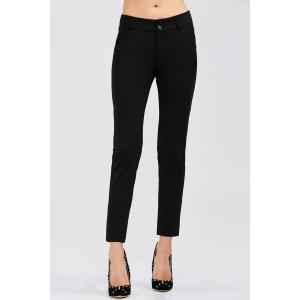 Skinny Ankle Length Pencil Pants - Black - L