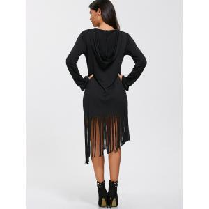 Casual Long Sleeve Hooded T-Shirt Fringed Dress - BLACK XL