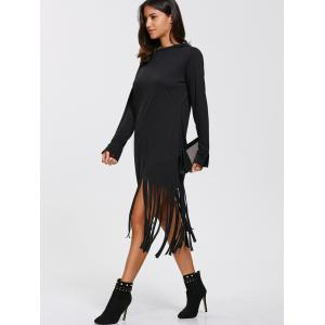 Casual Long Sleeve Hooded T-Shirt Fringed Dress - BLACK L
